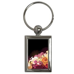 Flower Back Leaf Polka Dots Black Pink Key Chains (rectangle)