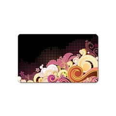Flower Back Leaf Polka Dots Black Pink Magnet (name Card)