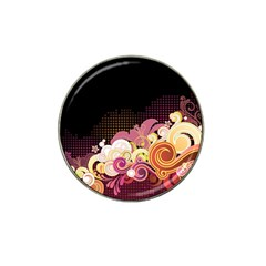 Flower Back Leaf Polka Dots Black Pink Hat Clip Ball Marker