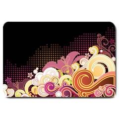 Flower Back Leaf Polka Dots Black Pink Large Doormat