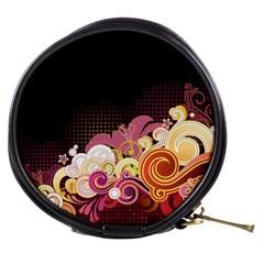 Flower Back Leaf Polka Dots Black Pink Mini Makeup Bags