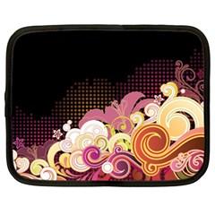 Flower Back Leaf Polka Dots Black Pink Netbook Case (xxl)