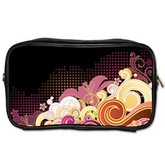 Flower Back Leaf Polka Dots Black Pink Toiletries Bags 2 Side
