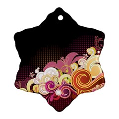 Flower Back Leaf Polka Dots Black Pink Ornament (snowflake)