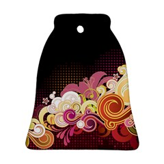 Flower Back Leaf Polka Dots Black Pink Ornament (bell)