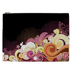 Flower Back Leaf Polka Dots Black Pink Cosmetic Bag (xxl)