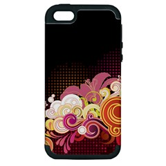 Flower Back Leaf Polka Dots Black Pink Apple Iphone 5 Hardshell Case (pc+silicone)