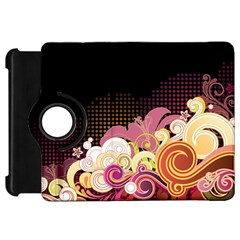 Flower Back Leaf Polka Dots Black Pink Kindle Fire Hd 7