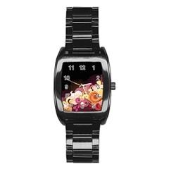 Flower Back Leaf Polka Dots Black Pink Stainless Steel Barrel Watch