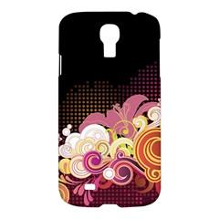 Flower Back Leaf Polka Dots Black Pink Samsung Galaxy S4 I9500/i9505 Hardshell Case