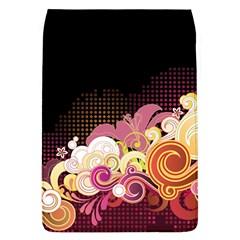Flower Back Leaf Polka Dots Black Pink Flap Covers (l)