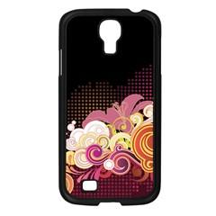 Flower Back Leaf Polka Dots Black Pink Samsung Galaxy S4 I9500/ I9505 Case (black)