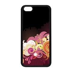 Flower Back Leaf Polka Dots Black Pink Apple Iphone 5c Seamless Case (black)