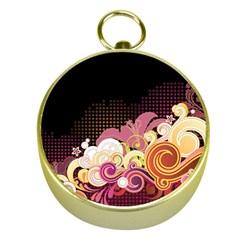 Flower Back Leaf Polka Dots Black Pink Gold Compasses