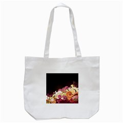 Flower Back Leaf Polka Dots Black Pink Tote Bag (white)