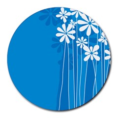 Flower Blue Round Mousepads