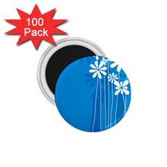 Flower Blue 1 75  Magnets (100 Pack)