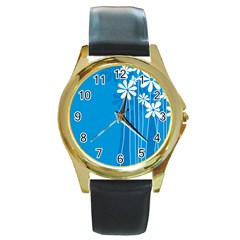 Flower Blue Round Gold Metal Watch