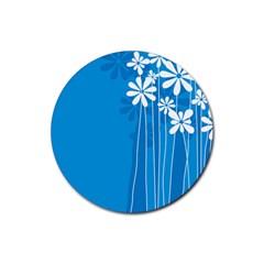 Flower Blue Rubber Coaster (round)