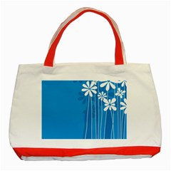 Flower Blue Classic Tote Bag (red)