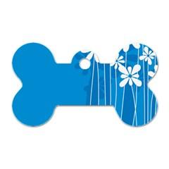 Flower Blue Dog Tag Bone (two Sides)