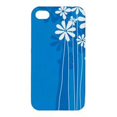Flower Blue Apple Iphone 4/4s Premium Hardshell Case