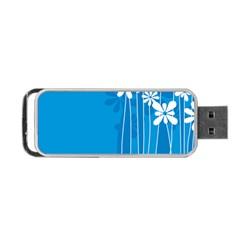 Flower Blue Portable Usb Flash (two Sides)