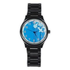 Flower Blue Stainless Steel Round Watch