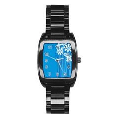 Flower Blue Stainless Steel Barrel Watch