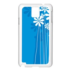 Flower Blue Samsung Galaxy Note 3 N9005 Case (white)