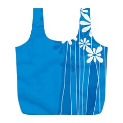 Flower Blue Full Print Recycle Bags (l)