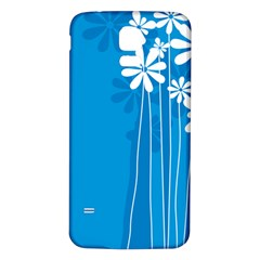 Flower Blue Samsung Galaxy S5 Back Case (white)