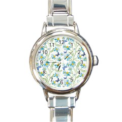 Flower Blue Butterfly Leaf Green Round Italian Charm Watch