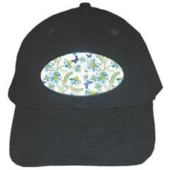 Flower Blue Butterfly Leaf Green Black Cap