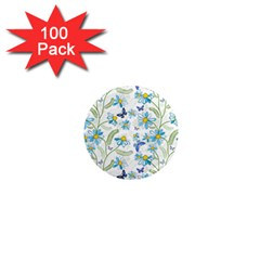 Flower Blue Butterfly Leaf Green 1  Mini Magnets (100 Pack)