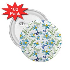 Flower Blue Butterfly Leaf Green 2 25  Buttons (100 Pack)
