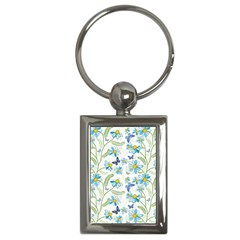 Flower Blue Butterfly Leaf Green Key Chains (rectangle)