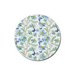 Flower Blue Butterfly Leaf Green Rubber Coaster (round)