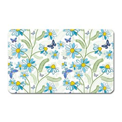 Flower Blue Butterfly Leaf Green Magnet (rectangular)