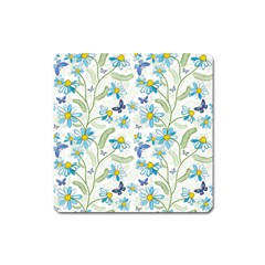 Flower Blue Butterfly Leaf Green Square Magnet