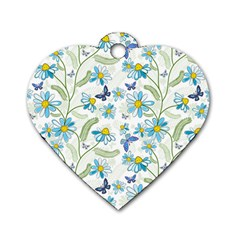 Flower Blue Butterfly Leaf Green Dog Tag Heart (two Sides)