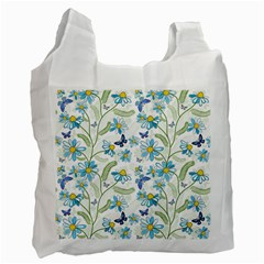 Flower Blue Butterfly Leaf Green Recycle Bag (one Side)