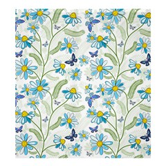 Flower Blue Butterfly Leaf Green Shower Curtain 66  X 72  (large)
