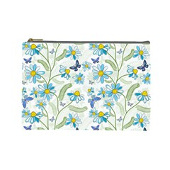 Flower Blue Butterfly Leaf Green Cosmetic Bag (large)