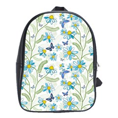 Flower Blue Butterfly Leaf Green School Bag (large)