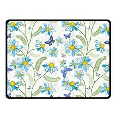 Flower Blue Butterfly Leaf Green Fleece Blanket (small)