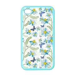 Flower Blue Butterfly Leaf Green Apple Iphone 4 Case (color)