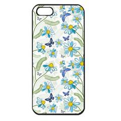 Flower Blue Butterfly Leaf Green Apple Iphone 5 Seamless Case (black)