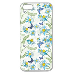 Flower Blue Butterfly Leaf Green Apple Seamless Iphone 5 Case (clear)