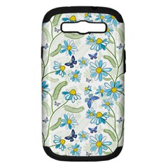 Flower Blue Butterfly Leaf Green Samsung Galaxy S Iii Hardshell Case (pc+silicone)